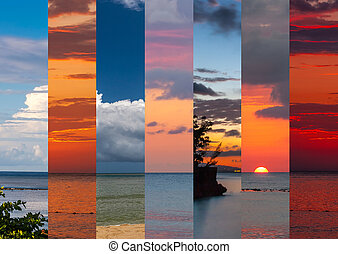Collage of sea shots in sunset time - Collage of images of...