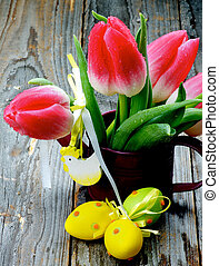 Easter Flower Theme - Bunch of Magenta Tulips in Watering...