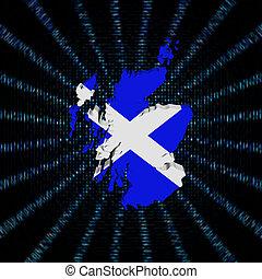 Scotland map flag on blue hex code burst illustration