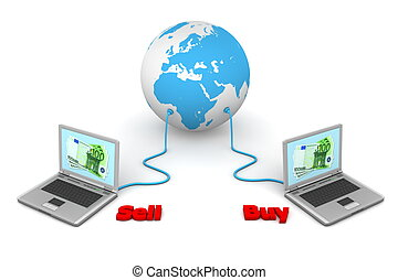Connected to the World - e-Commerce - two laptops connected...