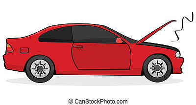 Broken car - Cartoon illustration showing a broken car with...