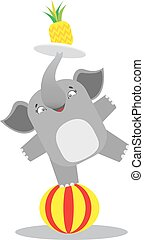 Circus elephant balancing on a striped ball with the pineapple on the tray. Circus concept. Flat cartoon vector illustration