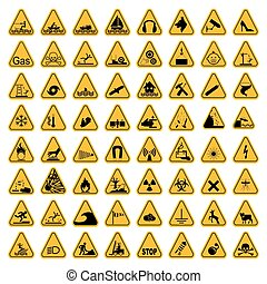 Warning Hazard Triangle Signs Set. Vector illustration. Yellow symbols isolated on white