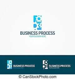 Business process logo set consisting of three gear depicting...