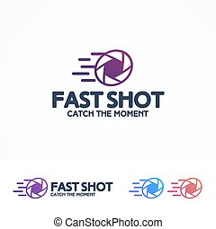 Photography logo set with aperture and sign fast shot for...