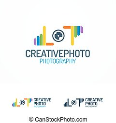 Photography logo set with lens and colorful hands line color...