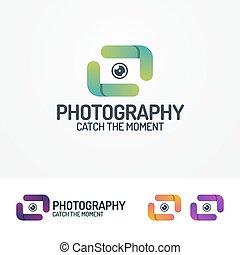 Photography logo set with lens and lines modern color style...