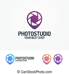 Photostudio logo set with aperture and pin modern color...
