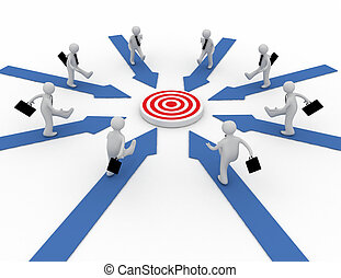 Businessmen are running on arrows pointing to a target at the center. 3d rendered illustration