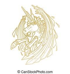 Graphic demonic unicorn - Graphic crystallizing demonic...