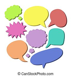 Vector set of different color blank comic speech bubbles.