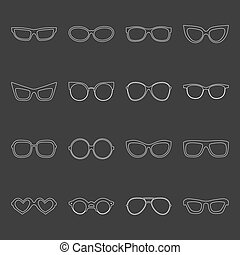 Big vector set of icons of different shapes glasses in trendy flat style.