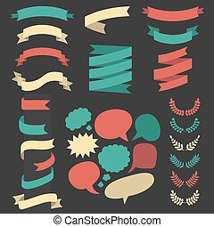 Beg vector set of different ribbons, wreaths, laurels and...