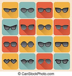 Big vector set of icons of different shapes sunglasses in trendy flat style.