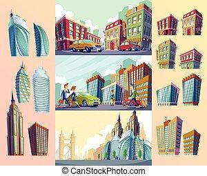 Set vector cartoon illustrations of an old buildings, urban...