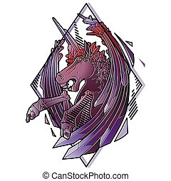 Graphic demonic unicorn - Graphic crystallizing demonic...