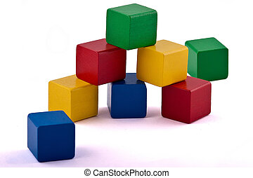 Toy building blocks - Colorful wooden toy building blocks...