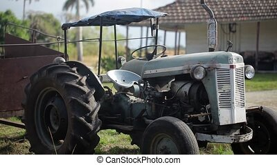 Agricultural tractor outdoors at farm
