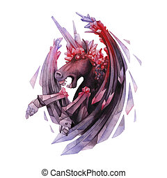 Watercolor crystallizing unicorn - Watercolor crystallizing...