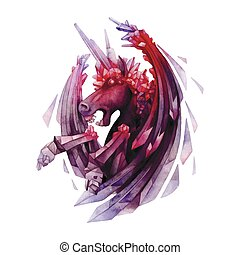 Watercolor crystal unicorn - Watercolor crystallizing...