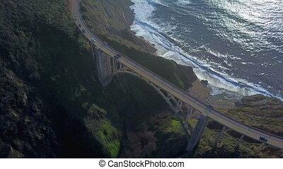 Aerial view of Bixby Bridge - Aerial top view of Bixby...
