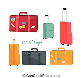 Set of Travel Suitcases and Bags Illustrations - Set of...