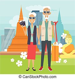 Travel in Old Age Vector Concept in Flat Design - Travel in...
