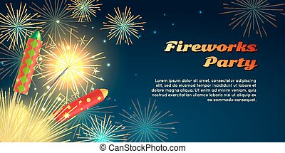 Fireworks Party Barner. Collection of Pyrotechnics -...