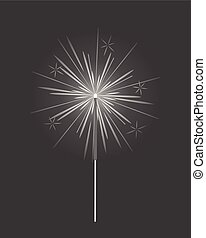 Bengal Light, Fire, Firework Sparkler Isolated - Bengal or...