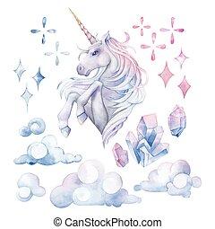 Cute watercolor unicorn - Cute set of watercolor unicorn in...
