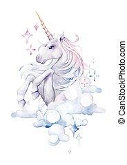 Cute watercolor unicorn in the sky. Hand drawn fantasy art...