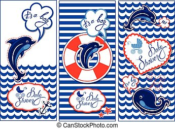 Baby boy Shower Nautical Set. Party Decoration, Scrapbook, invitation card. Funny flyers with dolphin, whale and frame on stripe white and blue  background.
