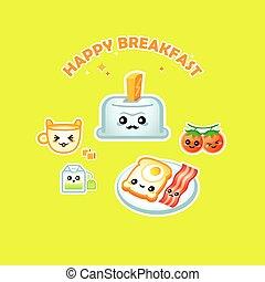 Happy breakfast - Cute happy breakfast for children