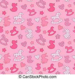 Seamless pattern with toys - horses, rabbits, hearts and stars. Newborn girl pink color background. Design for baby shower, card, invitation, etc.