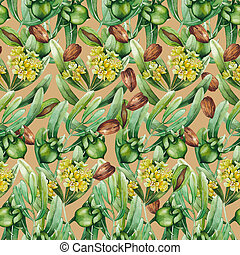 Watercolor jojoba pattern