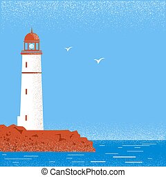 Lighthouse seascape horizon. Vector illustration