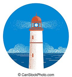 Lighthouse seascape logo illustration.