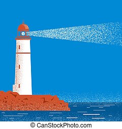 Lighthouse night seascape horizon. Vector illustration