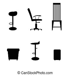 chair set in black color illustraton - chair set in black...