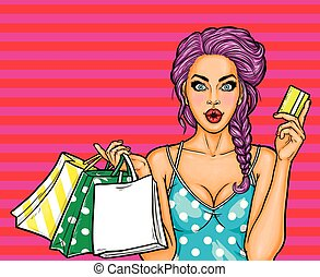 Vector pop art illustration of a young sexy girl holding shopping bags and credit card.