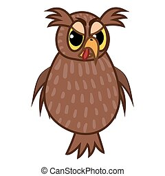 Isolated Emoji character cartoon angry owl. Vector...