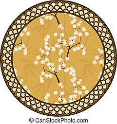 Japanese vector round pattern with bamboo, sakura and traditional ornaments illustration
