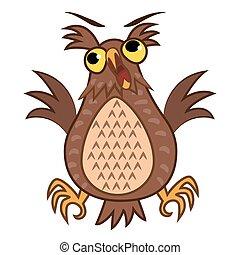 Set isolated Emoji character cartoon joy owl. Vector...