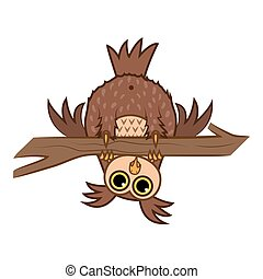 Set isolated Emoji character cartoon curious owl hanging upside down on a branch. Vector Illustrations
