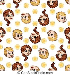 Seamless pattern with happy boy and girl. Sun shines on their joy. Vector illustrations