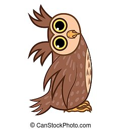 Set isolated Emoji character cartoon owl asks the question....