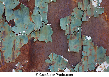 chipped paint on rusty metal surface
