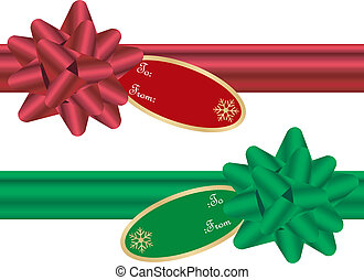 Set of Christmas Bows with Matching Ribbons and Gift Tags