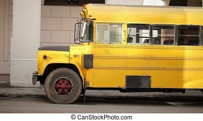 American yellow schoolbus - American old yellow schoolbus at...