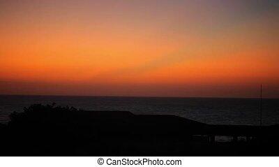 Beautiful orange sunset in the sea